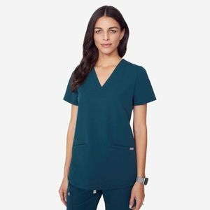 NWT FIGS Casma 3Pocket Caribbean Blue Scrubs Shirt